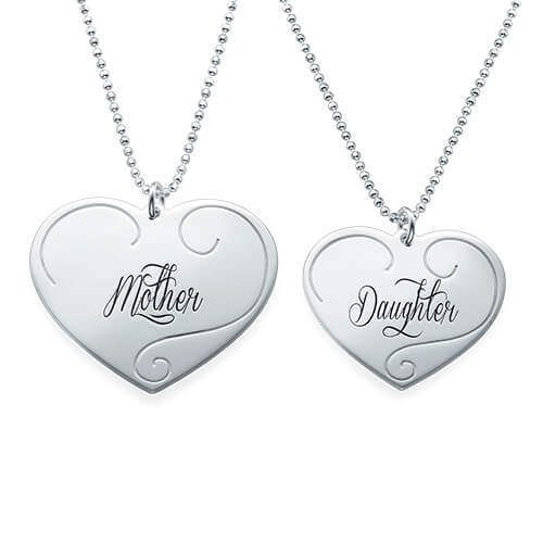 Engraved heart pendants mother daughter jewelry name necklaces personalized aloadofball Images